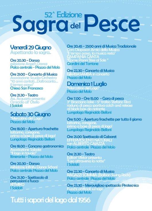 Programma della 52^ edizione della Sagra del Pesce