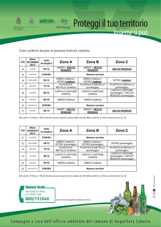 Calendario del servizio di raccolta rifiuti feste natalizie - capodanno 2013