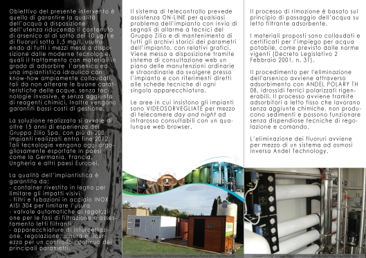 Pieghevole presentazione impianti di filtrazione delle acque, acquedotto del Biadaro e di Ponton dell'Elce