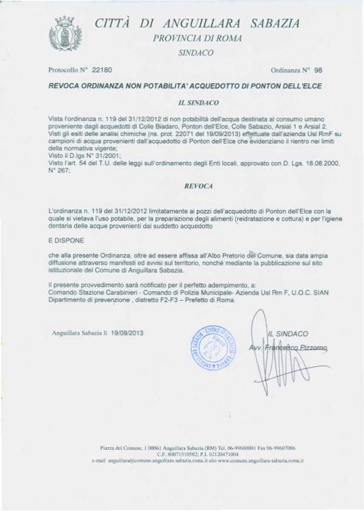 Ordinanza n. 98 del 19/09/2013