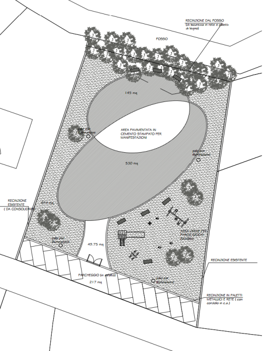 Planimetria di massima della piazza e dello spazio giochi per bambini