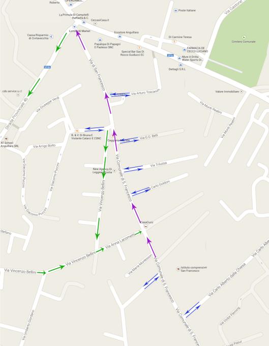Mappa del senso unico di Via San Francesco