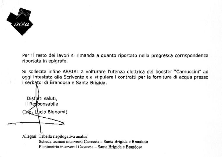 Nota dell'Acea Ato2 acquedotto Brandosa-Santa Brigida